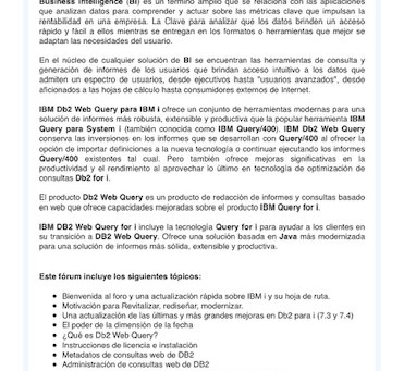 Foro Técnico Virtual DB2 Web Query 2021