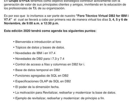 Foro Técnico Virtual DB2 for IBMi V7.4 2020
