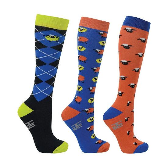 HY Fashion Simon The Sheep Socks 3 pack (Adult 4-8)