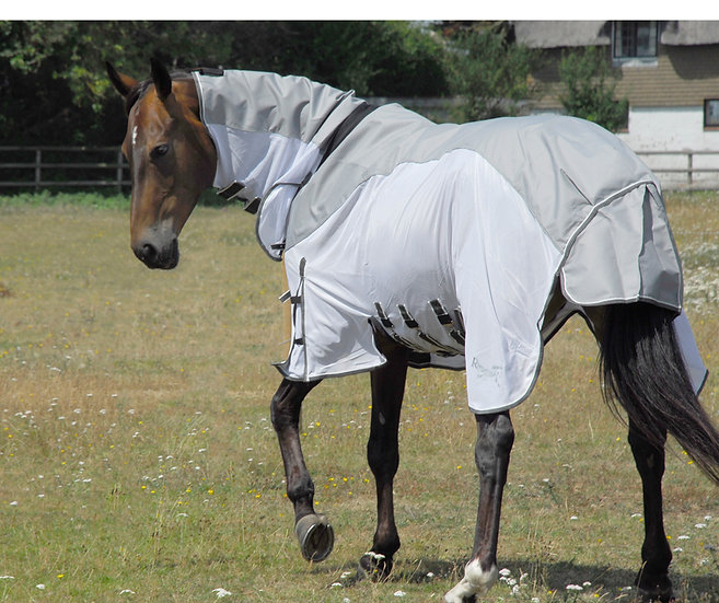 Rhinegold Zambia Full Neck Fly Rug With Waterproof Topline WHITE