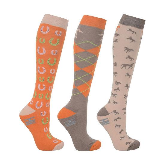 HY Fashion Horse Shoe Socks (Pack 3) UK 4