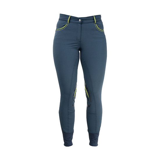 HyFASHION 80 Sports Ladies Breeches Blueberry/Lime Green