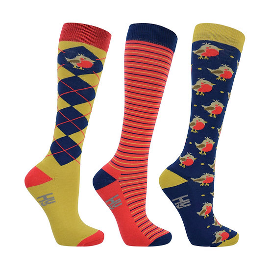 HY Fashion Robin Socks 3 pack (Adult 4-8)