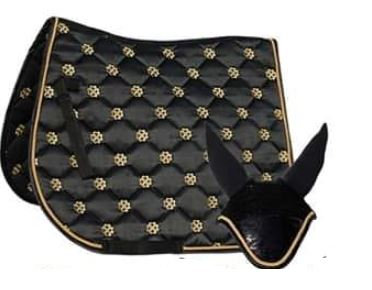 Rhinegold Lucky Clover Satin Saddle Pad and Fly Veil Set