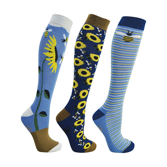 HY Fashion Sunflower Socks 3 pack (Adult 4-8)