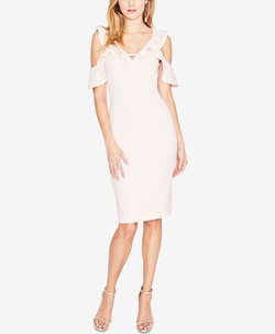 Rachel Roy Cold Shoulder Midi Dress Pink