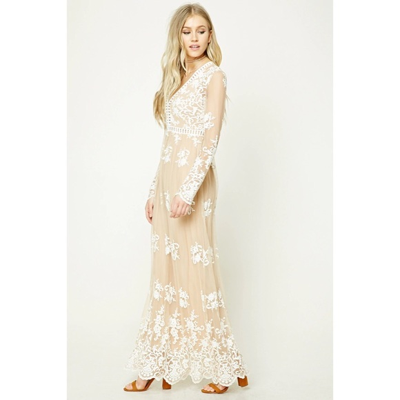 Forever 21 Sheer Nude Lace Maxi Dress
