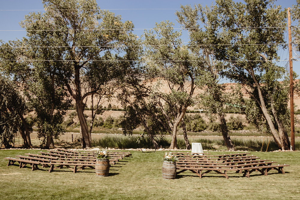 Orchard River View Palisade Colorado barn wedding venue outdoor ceremony location