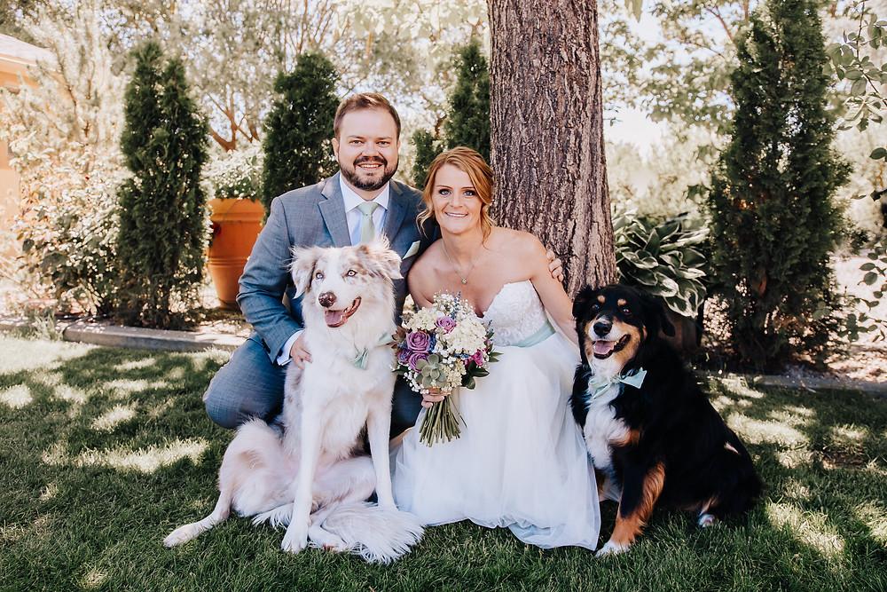 Wedding dogs Palisade Colorado Maison la Belle Vie married couple dog friendly wedding
