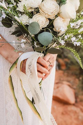 Elopement wood flower bouquet detail Moa