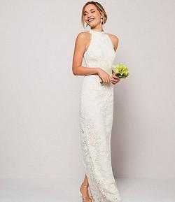 Adriana Papell Lace Halter Wedding Dress