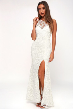 Lulus Hale White Lace Sleevess Maxi Dres