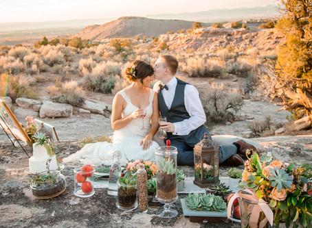 Desert Picnic in Peach | Grand Junction Styled Wedding Shoot