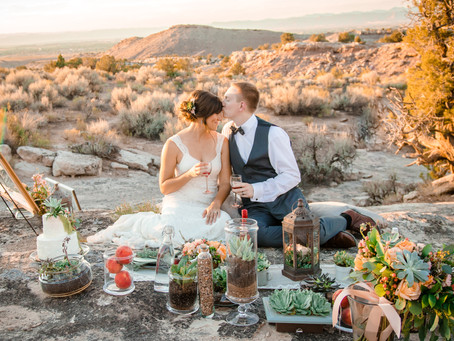 Desert Picnic in Peach | Grand Junction Styled Wedding Shoot