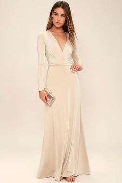 Lulus Champagne Beige Maxi Dress Sleeves