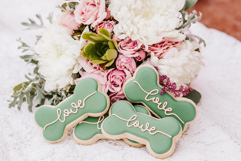 Doggie treats for wedding bone shaped sugar cookies dog friendly wedding favor