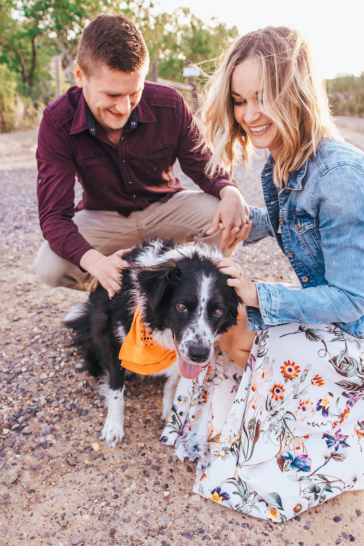 Engagement photos with dog Palisade Colorado vineyard sunrise