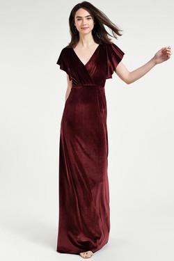 Jenny Yoo Burgundy Velvet Wrap Dress