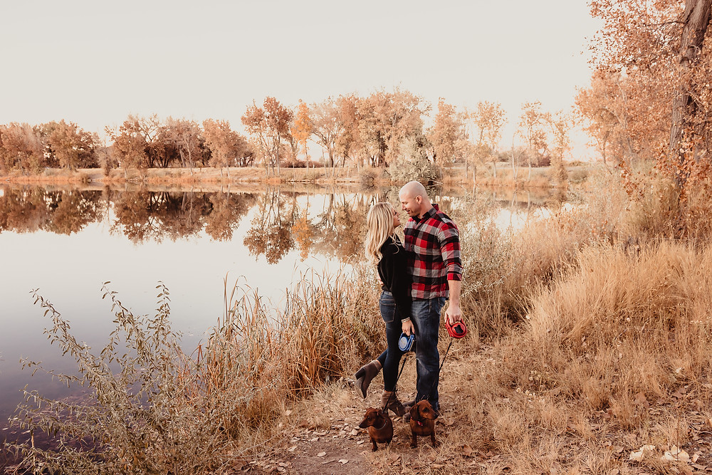 Autumn leaves fall color Colorado Connected Lakes Grand Junction engagement photos with cute dogs