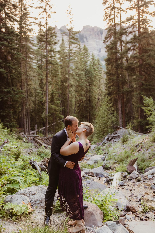 Silver Jack Colorado mountain engagement photos formal dress kiss