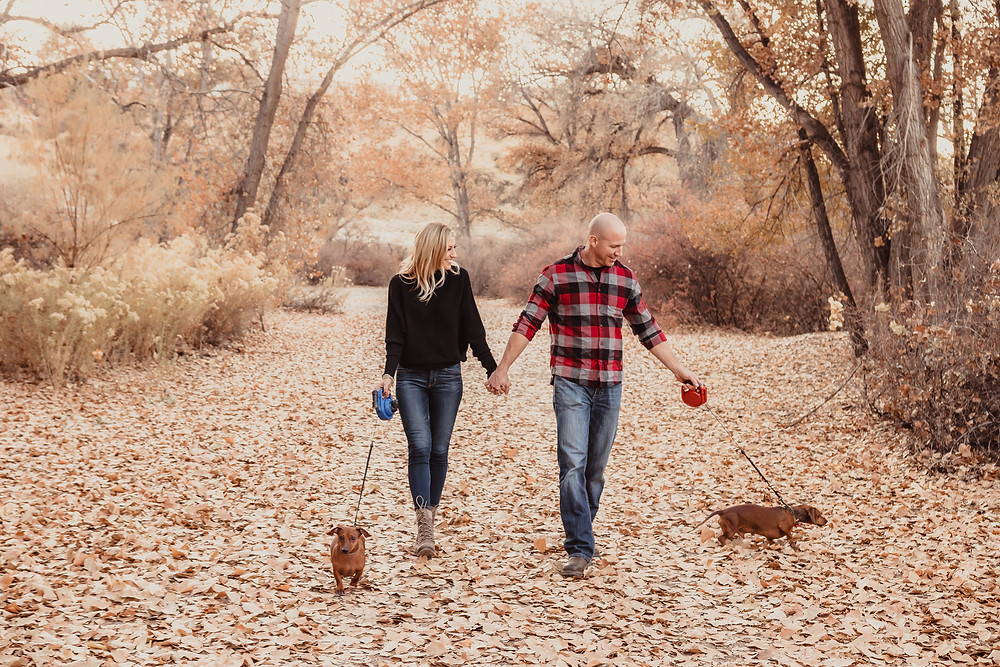 Connected Lakes Grand Junction Colorado falling autumn laves fall color engagement photos with dogs