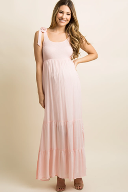 Pink Blush Should Tie Tiered Maxi Matern