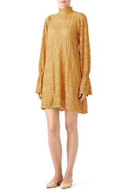 Free People Mustard Lace Dress