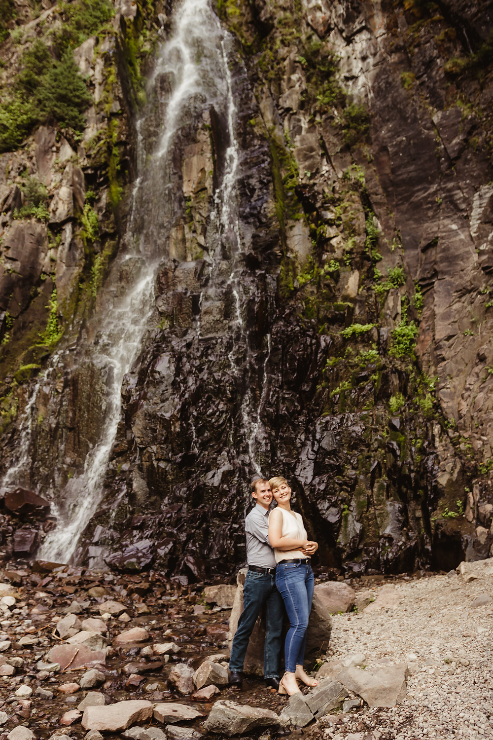 Silver Jack Colorado engagement photos Colorado mountains waterfall