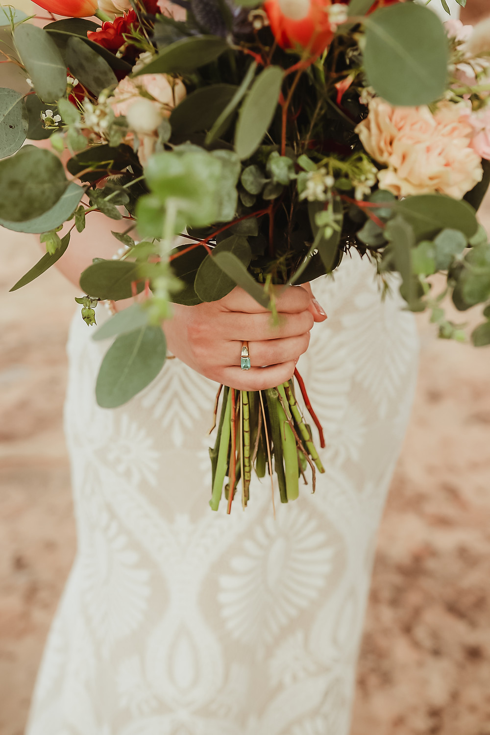 Colorado National Monument intimate elopement bride and groom elope desert scenery Bookcliff Overlook bouquet detail