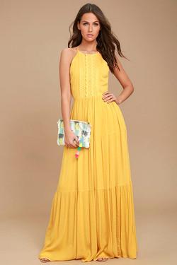 Lulus for Life Golden Maxi Crochet Dress