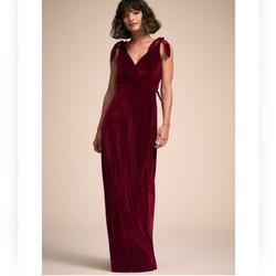 BHLDN Velvet Burgundy Dress Rosaura Anth