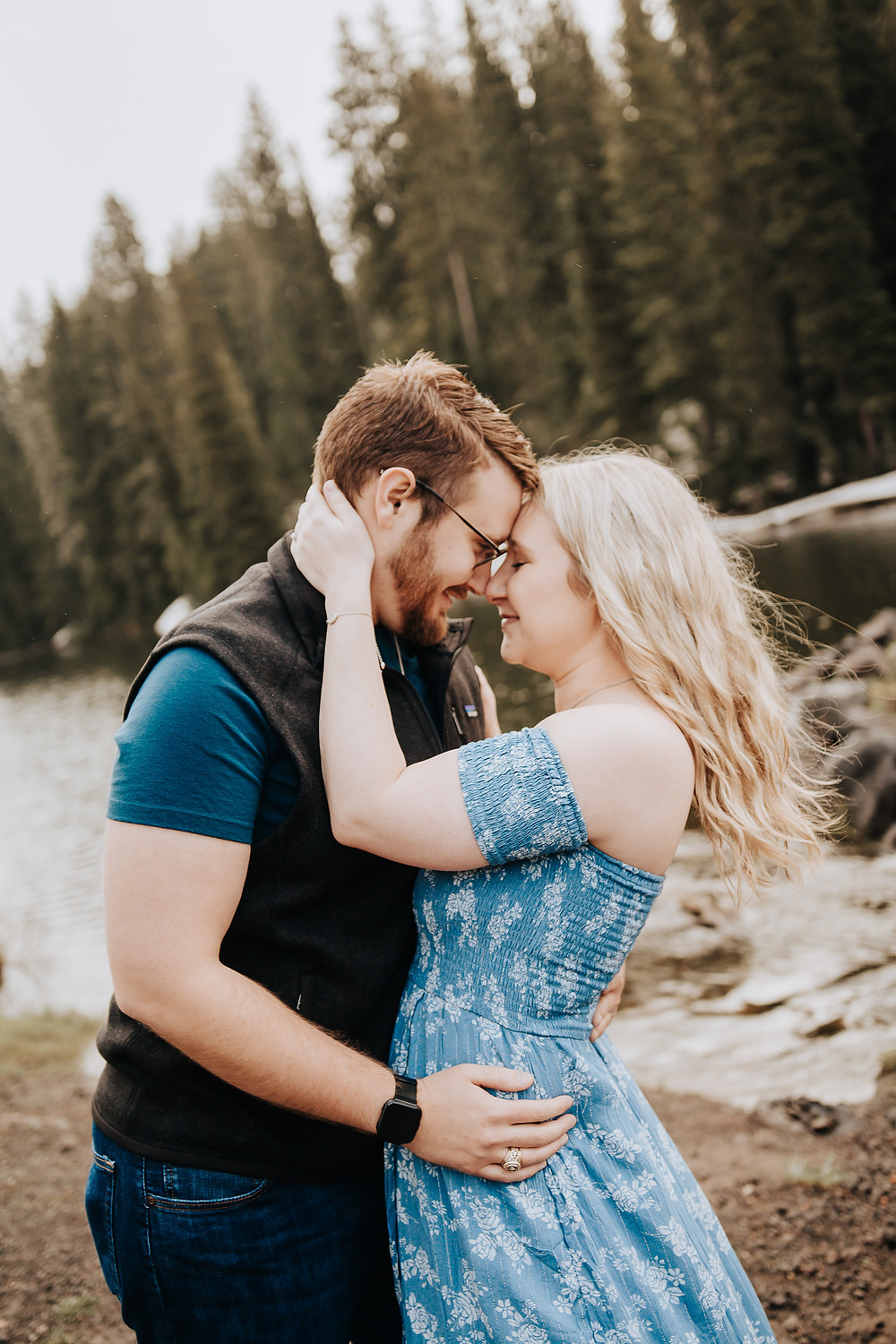 Colorado mountains engagement photos rainy day Grand Mesa