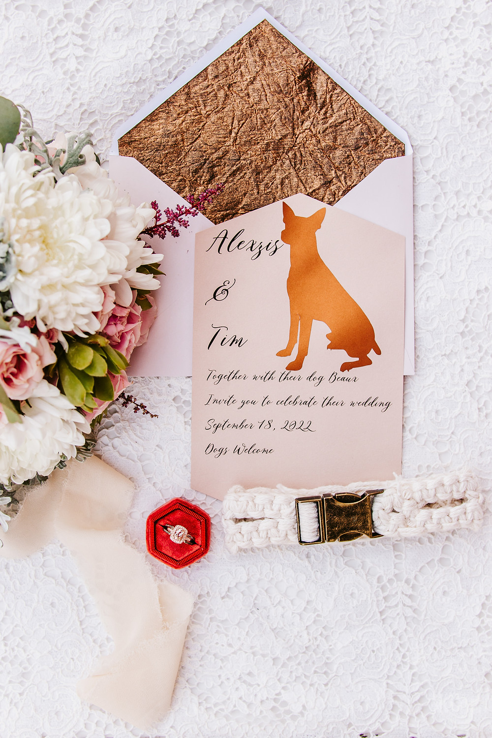 Dogs welcome dog friendly wedding invitation suite