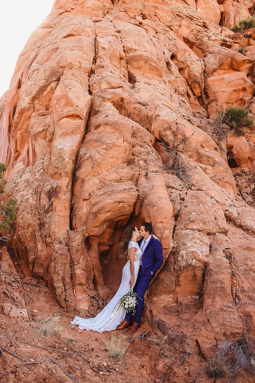 Moab Utah elopement bride and groom elope desert scenery Colorado photographer