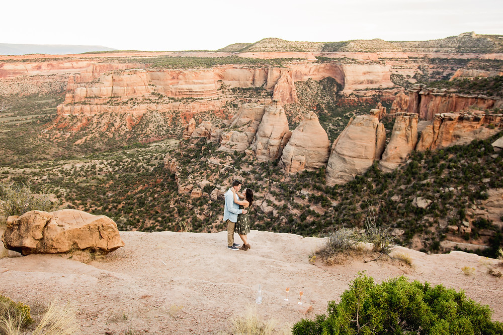 Coke Ovens overlook engagement photos Colorado National Monument couple dancing