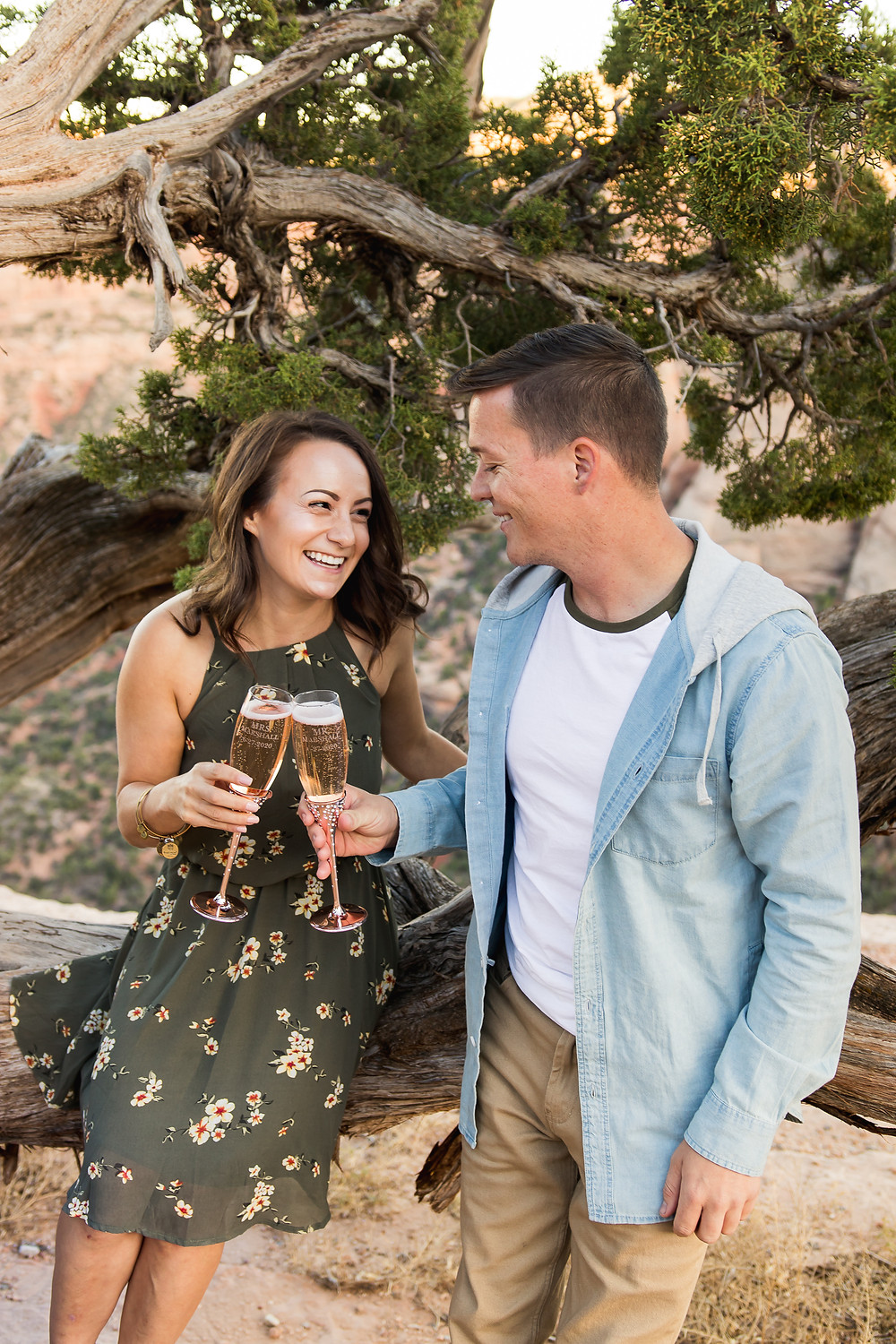 Champagne toast engagement Colorado National Monument