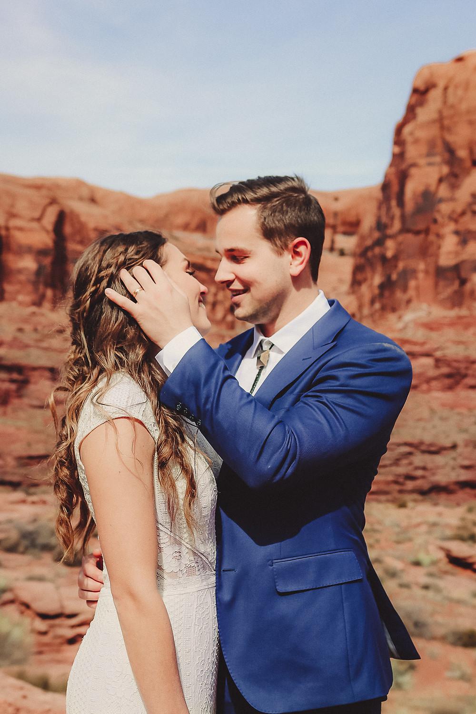 Moab Utah elopement bride and groom elope desert scenery Colorado photographer adventure elopement