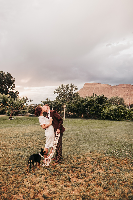 Palisade River Ranch dog friendly wedding venue Palisade Colorado Mt Garfield sunset