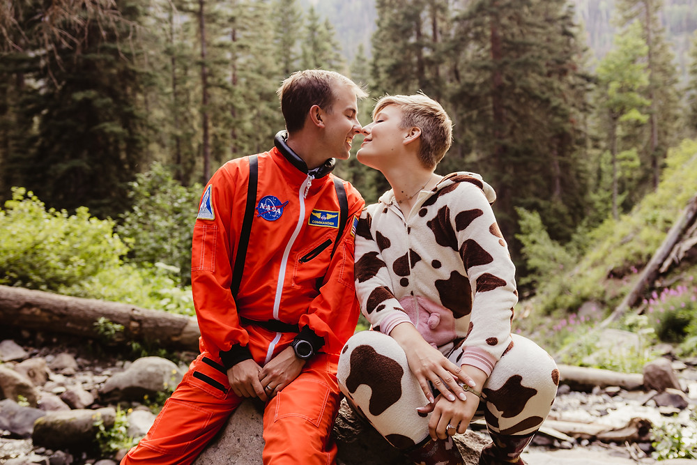 Engagement photo costumes cow and astronaut Silver Jack Colorado mountains