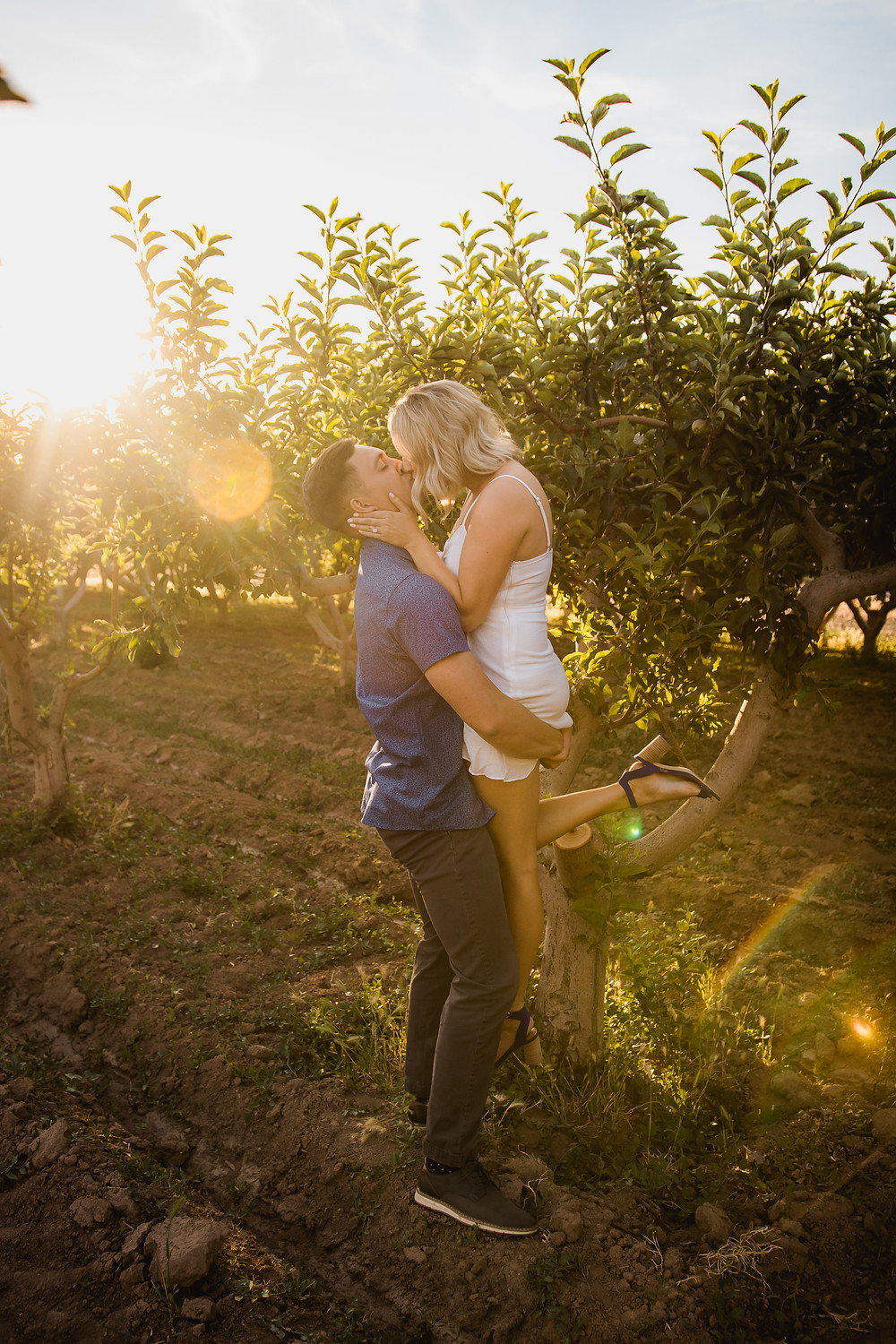Engagement photos in peach orchard Palisade Colorado couple kissing
