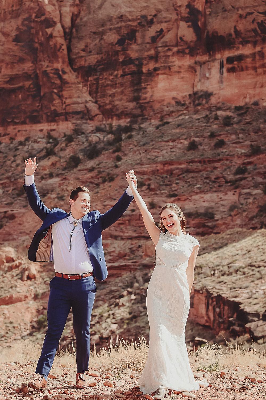 Moab Utah elopement bride and groom elope desert scenery Colorado photographer celebrate