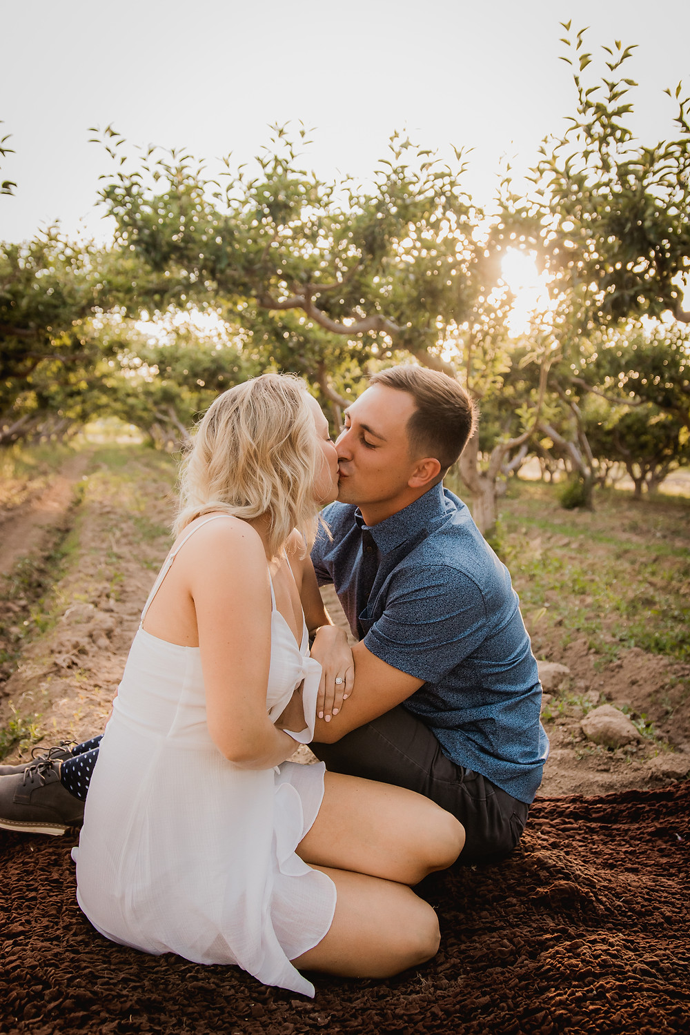 Couple in peach orchard engagement photos Palisade Colorado