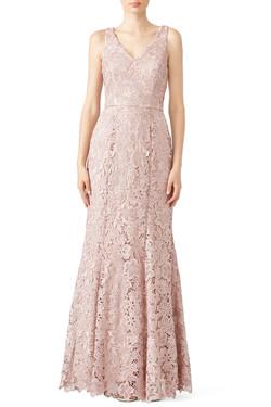 JS Collection Blush Floral Lace Gown