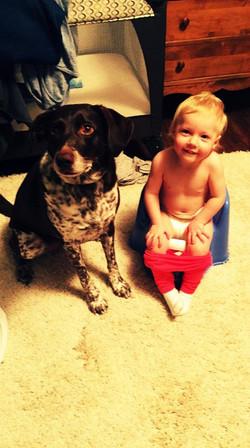 Benni and the bird dog potty training