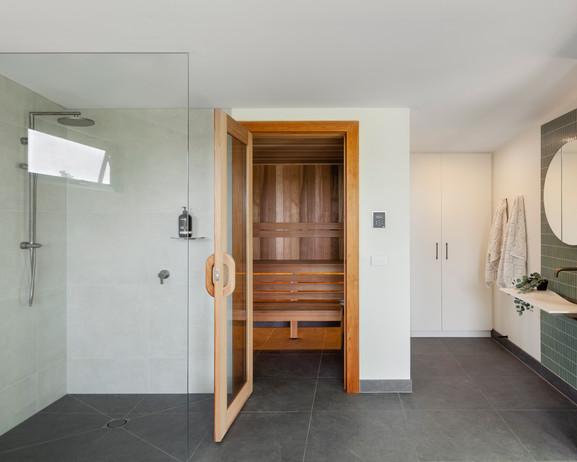 Custom Built Sauna Front in Bathroom
