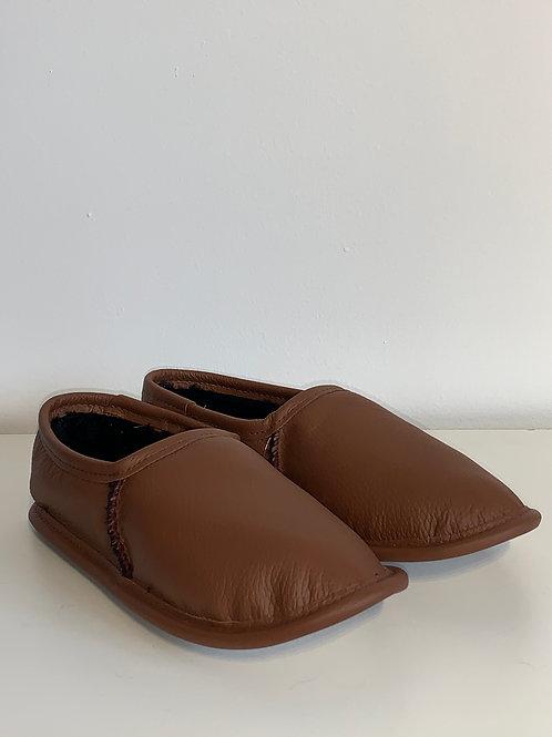 Pantoufle cuir tan