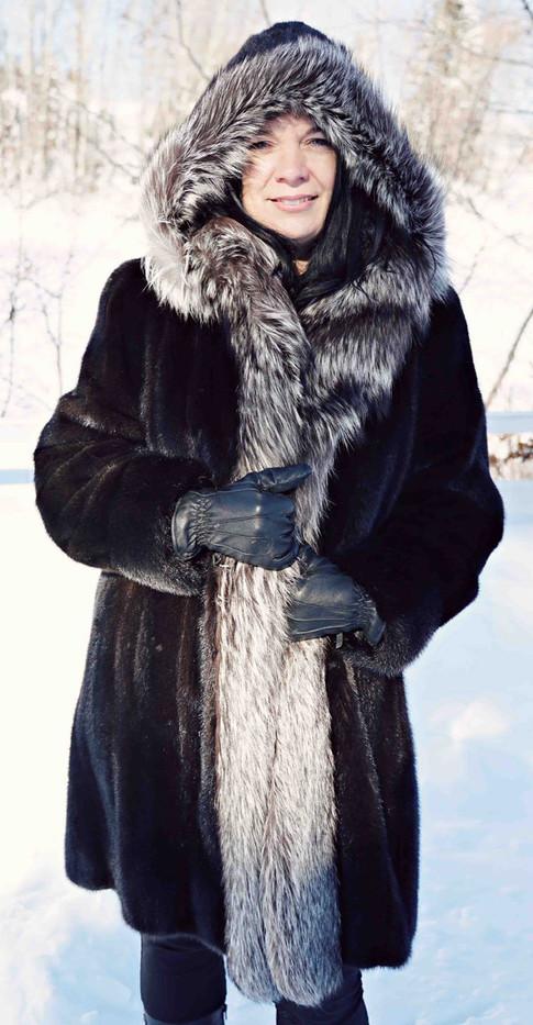 Manteau vison brun & Renard argenté