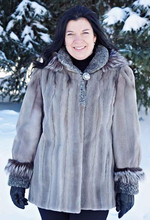 Manteau vison gris & mouton de perse