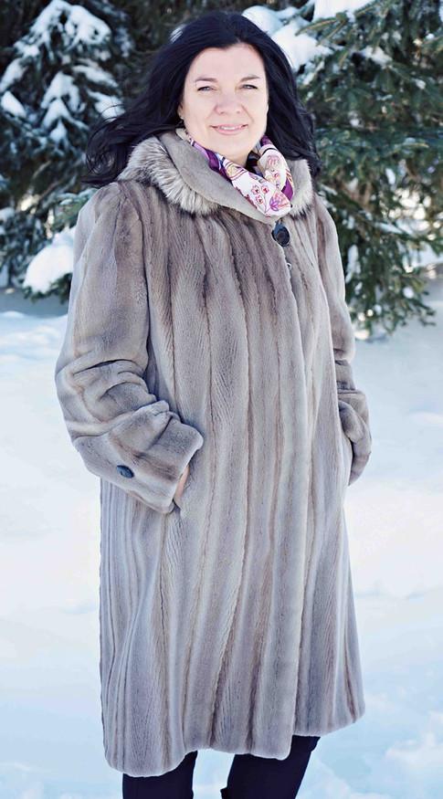 Manteau vison gris rasé