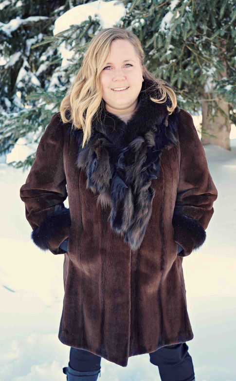 Manteau vison rase brun